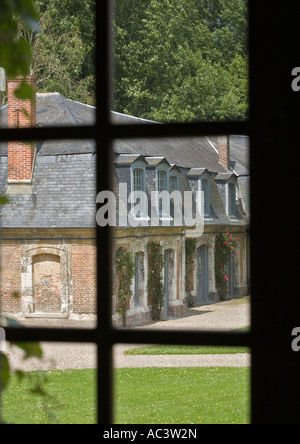 L'Abbaye et les Jardins de Valloires window interior view to chateau in Somme, Picardie, northern France europe eu Stock Photo