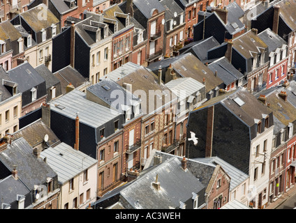 Aerial view of fishermens houses in Cordiers district Le Treport - Stock Photo