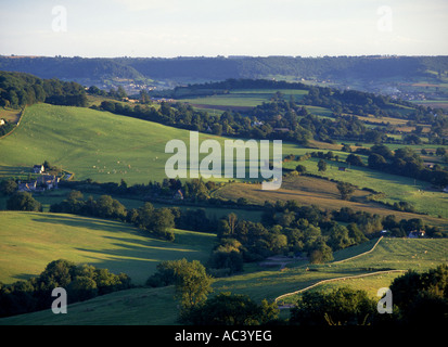 The view from Haresfield Beacon near Stroud Gloucesetershire - Stock Photo