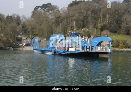 King Harry Ferry on the Fal estuary Cornwall England - Stock Photo