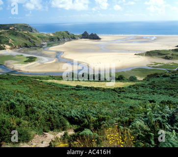 three cliffs bay from nott hill penmaen gower peninsula south wales u k - Stock Photo
