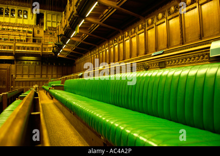green benches leather  the palace of westminster house of commons london england english government politics british - Stock Photo