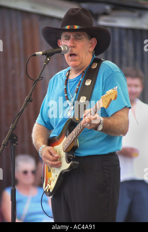 Texas blues guitarist Lightnin' Willie performing with the Poorboys at the annual Brecon Jazz Festival Powys Wales - Stock Photo