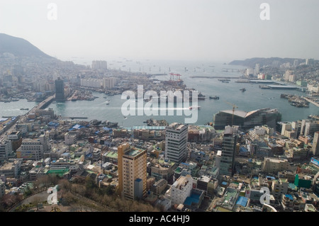 View of port at Busan, South Korea, from Busan Tower. - Stock Photo