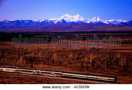 Alaska Railroad train with Mount McKinley and the Alaska Range in the back - Stock Photo