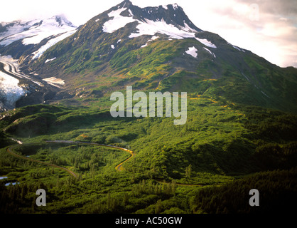 The Alaska Railroad Wilderness Express at the Bartlett Glacier on the Anchorage to Seward run - Stock Photo