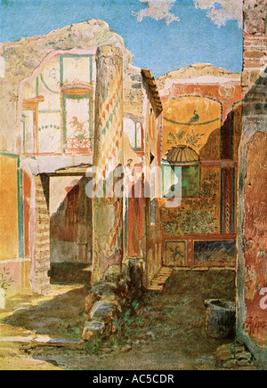 Remains of a home interior in Pompeii from the Roman Empire period buried in the eruption of Mount Vesuvius. Color - Stock Photo