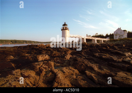 Marshall point lighthouse in Port Clyde Maine - Stock Photo