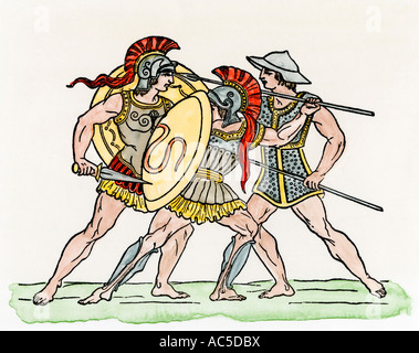 Greek soldiers in combat wearing heavy and light armor. Hand-colored woodcut - Stock Photo