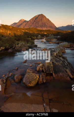 Morning light Buachaille Etive Mor Glen Coe Scotland UK - Stock Photo