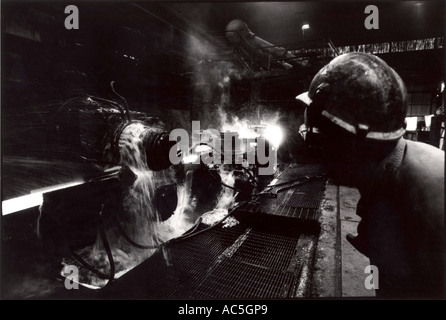 Peter Jordan Network Photographers Image Ref PJA 10135220 psd ASW Steel Foundry Wales Production of steel bars - Stock Photo