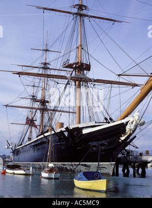 HMS Warrior first Iron Clad Ship, located Portsmouth Dockyard - Stock Photo