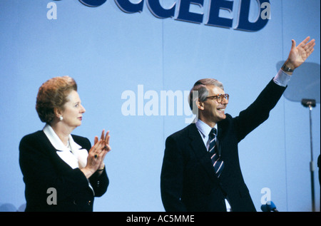 Margaret Thatcher British politician and John Major British politician at Tory Conference - Stock Photo