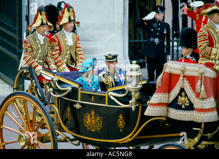 Prince Charles Princess Diana on carriage at Prince Andrew s Royal wedding British Pomp - Stock Photo