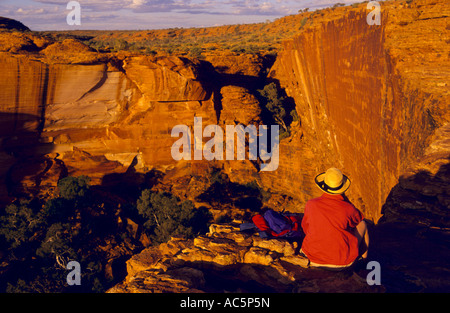 View to head of canyon, Watarrka (Kings Canyon) National Park, Northern Territory, Australia, horizontal, - Stock Photo