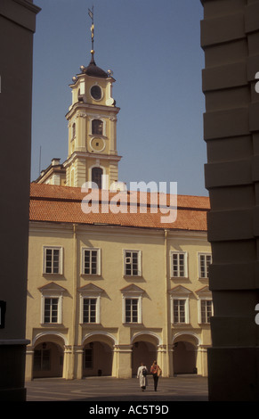 Didysis or Skarga Courtyard and observatory tower at Vilnius University in Vilnius Lithuania - Stock Photo