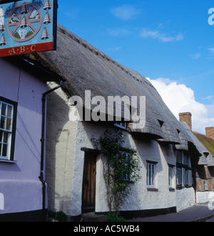 Eight Bells Public House and Thatched Cottages at Long Crendon Buckinghamshire England - Stock Photo