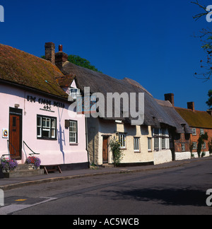 Cottages and Public House at Long Crendon Buckinghamshire England - Stock Photo