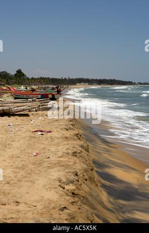 Fishing Boat, Mahabalipuram Beach, UNESCO World Heritage Site Near Chennai Tamil Nadu state India Asia - Stock Photo