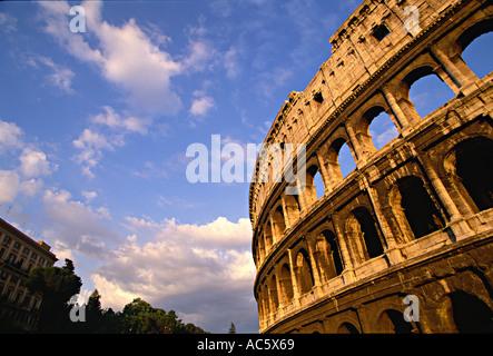 Coliseum in Rome Italy Coliseum Rome Italy International Landmark Ancient History Horizontal color Blue Sky Day - Stock Photo