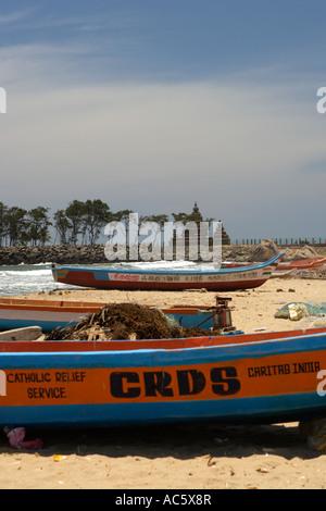 Fishing Boats, Mahabalipuram Beach, UNESCO World Heritage Site Near Chennai Tamil Nadu state India Asia - Stock Photo