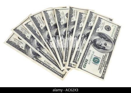 One thousand dollars in 100 dollar US bills - Stock Photo