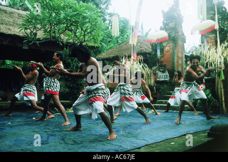 Trance dancers on island of Bali in Indonesia - Stock Photo