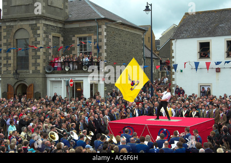 Selkirk Common Riding Exiles Standard Bearer Casting of the Colours - Stock Photo