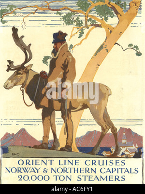 Orient line cruise advertisement to Norway 1930 - Stock Photo
