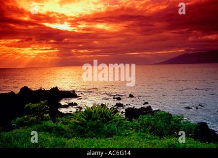 sunset, Ulua Beach, town of Wailea, Maui, Hawaii - Stock Photo