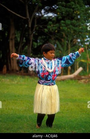 1, one, Hawaiian boy, child, hula dance, hula dancer, Aloha Week, Plantation Village, Waipahu, Oahu Island, Hawaii - Stock Photo