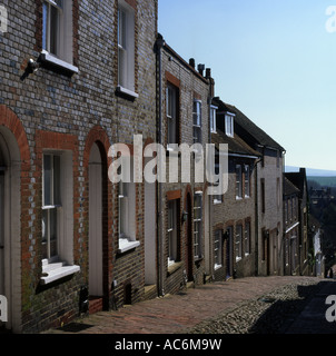 Cobbled steep Keere Street in Lewes East Sussex England - Stock Photo