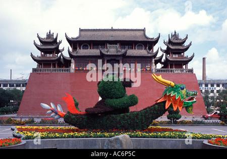 View of Gulou Drum Tower at Gulou Jie in Yinchuan city capital of the Ningxia Hui Autonomous Region, China - Stock Photo