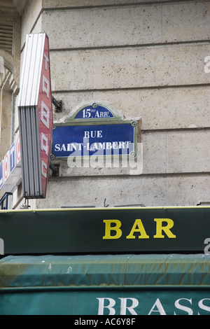 Cafe bar on Rue Saint Lambert Paris France - Stock Photo