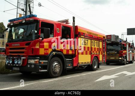 scania, swedish, fire, engine, truck, wagon, rescue, emergancy, services, - Stock Photo