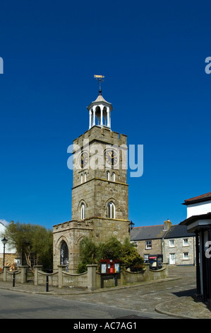 the traditional town clock in the square at st.day in cornwall,england