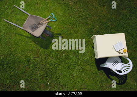 Work and leisure in the garden. - Stock Photo
