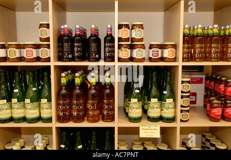 Juice chutney and pickle on sale at Beacons Farm Shop Middlewood Farm Bwlch Powys Wales UK - Stock Photo
