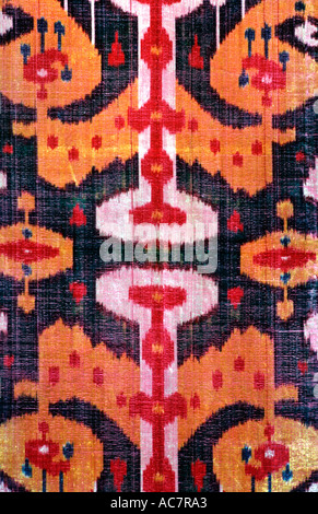 Ikat patterned silk fabric from Uzbekistan A textile tradition practiced by both the Tadjik and Uzbek peoples Central - Stock Photo