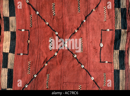 Woven raffia textile from Democratic Republic of Congo formerly known as Zaire Kuba tribe Applique decoration including - Stock Photo