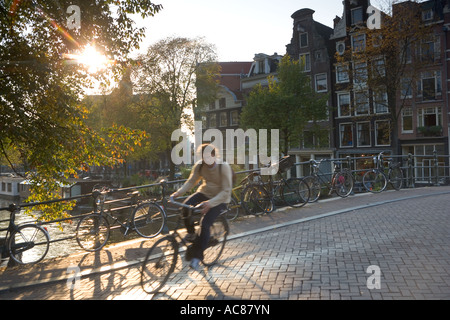 Cyclist in early morning, Amsterdam Netherlands - Stock Photo