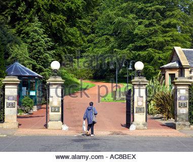 Entrance gates Royal Botanic garden Edinburgh SCOTLAND - Stock Photo