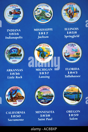 A close-up view of 9 colorized commemorative U.S. state coins, minted in the years 2002 through 2005. - Stock Photo