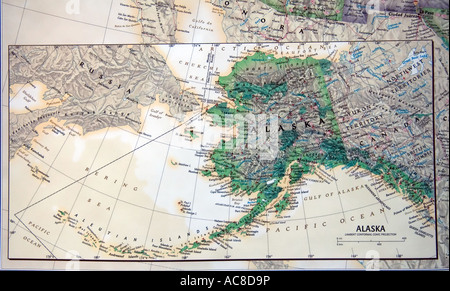 A close view of the state of Alaska, USA on a fine, detailed and colorful United States map. - Stock Photo