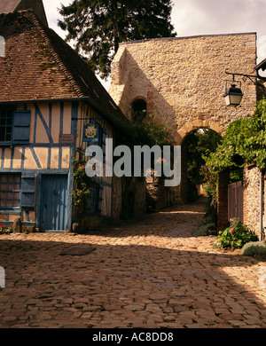 BLUE HOUSE AND COBBLED STREET GERBEROY FRANCE - Stock Photo