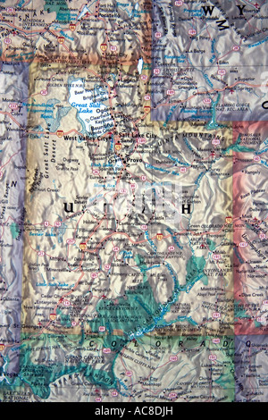 A close view of the state of Utah in the USA on a fine, detailed and colorful United States map. - Stock Photo