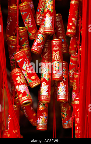 Chinese firecracker decoration on display during the Lunar New Year, Hong Kong, China - Stock Photo