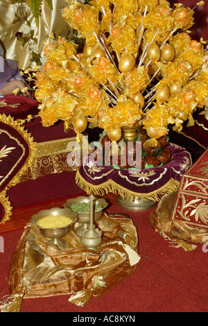 Accessories consisting of yellow rice scented water and leaves for accessories consisting of yellow rice scented water and leaves gold painted eggs for malay wedding in junglespirit Images
