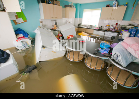 The unprecedented floods in Toll Bar near Doncaster, Yorkshire, UK, a drowned kitchen - Stock Photo