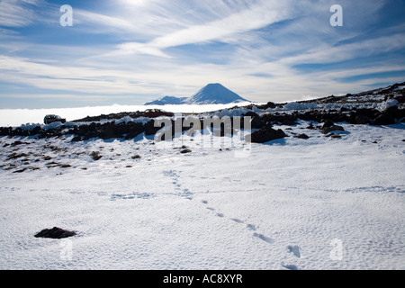Footsteps in Snow and Mt Ngauruhoe Tongariro National Park Central Plateau North Island New Zealand - Stock Photo